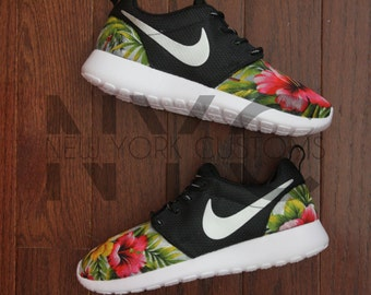 huge discount 779d7 cfbfe ... Nike Roshe One Run Black Grey Island Floral Palm Tree Print V5 Edition  Custom Men ...