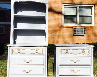 SOLD to Michelle- Vintage French Provincial 3 Drawer Dresser & Hutch