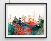 Landscape Watercolor Print Forest Art Painting Landscape Art Print Landscape Artwork Forest art poster Landscape Wall Decor Art Forest - 24