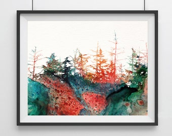 Watercolor Landscape Art Print - forest - Landscape Art Print - autumn