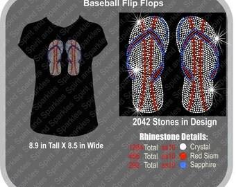 Baseball Flip Flops Rhinestone T-Shirt, Tank or Hoodie