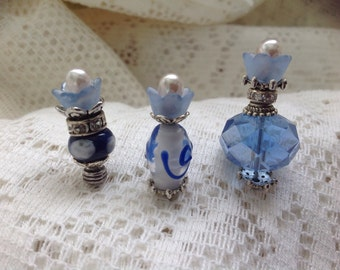 "Handmade blue flower, decorative stick pins. 2"", 3 pack"