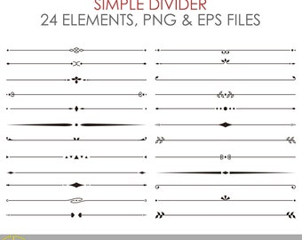 Simple Divider - 24 Elements - EPS & PNG - Instant Download - Personal and Commercial Use