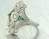 Antique Art Deco Filigree 14k Gold Diamond Emerald Dinner Engagement Ring Size 5.5