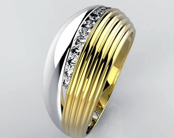 Gold ring with 15 diamonds natural 1 point G color-VS purity