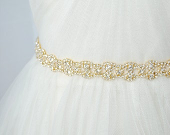 Gold Bridal Sash, Gold Wedding Belt, Gold Bridal Belt