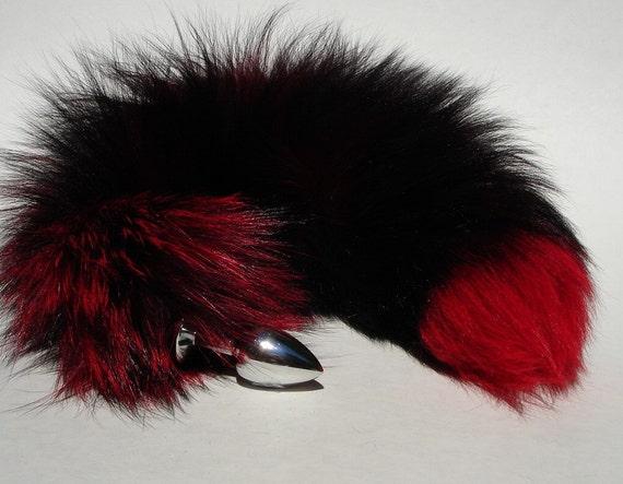 Tail Butt Plug Dildo Sex Toys 17 Black And Red Fox Tail-3491
