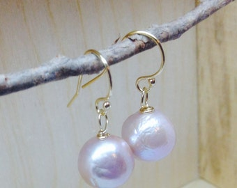 Peach Kasumi Pearl Earrings -June birthstone, freshwater kasumi pearl earrings, baroque pearl, gold filled earrings