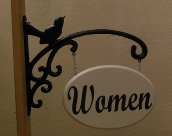 "Hanging ""Women"" Restroom Sign"