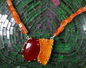 Crazy Cool Reflector & Carnelian Necklace - Girl With The Animal Earrings