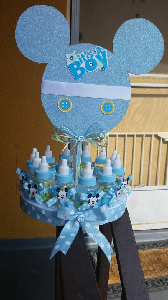 baby mickey mouse inspired candy centerpiece baby shower centerpiece