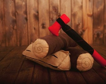Felt Firewood and Axe - Imagination Toy, Dramatic Play, Pretend Play, Play Ax, Toy Ax