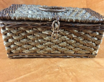 Victorian wicker sewing box