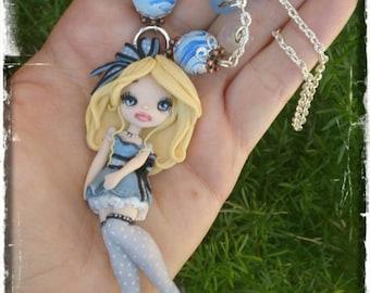 Alice in Wonderland handmade necklace-Necklace Alice in the wonderland handmade polymer clay fimo