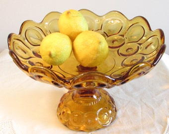 Amber Glass Compote Dish, Moon and Star Compote Dish, Amber Glass Dining Serving Bowl, Statement Serving Bowl, laslovelies