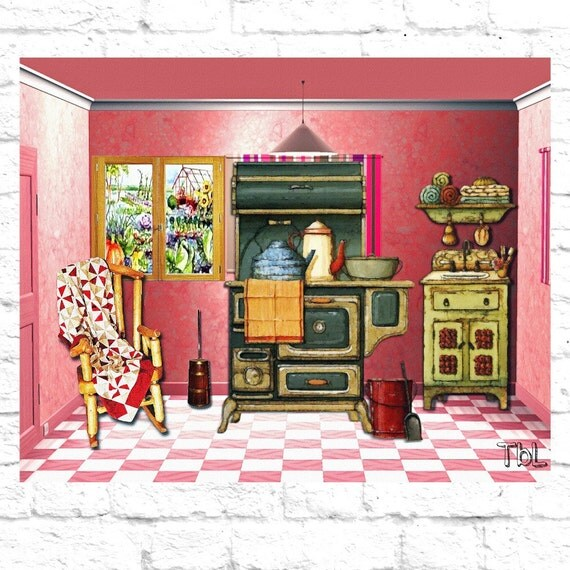 Pink Rustic Country Kitchen Digital Art Print By