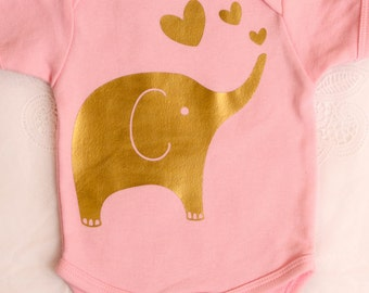 Baby Girl Pink and Gold bodysuit with elephant