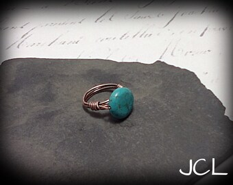 Small copper button ring - Turquoise