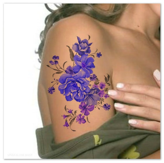 Temporary tattoo shoulder flower ultra thin realistic fake for Fake name tattoos