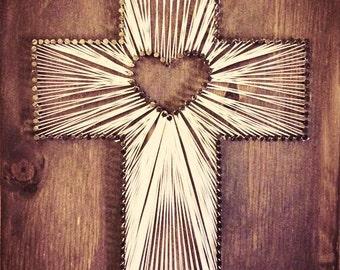Custom stained cross string art