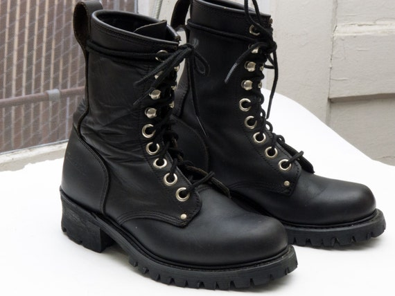 New Women39s Vintage Combat Boots In Black Leather For Size 7