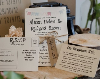 1 Rustic/Vintage/Shabby Chic Style wedding invitation stationery sample - Bunting Range
