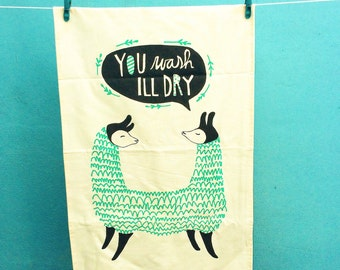 Eco-friendly Pushme-Pullyou Llama Teatowel