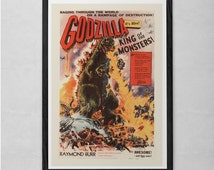 GODZILLA MOVIE POSTER - Vintage Sci-Fi Poster - Cult Movie Poster Classic Movie Poster Art Sci-Fi and Fantasy Film Poster Atomic Age Art