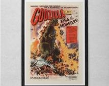 GODZILLA MOVIE POSTER - Vintage Sci-Fi Poster - Cult Movie Poster Classic Movie Poster Art Sci-Fi and Fantasy Film Poster Atomic Age Art