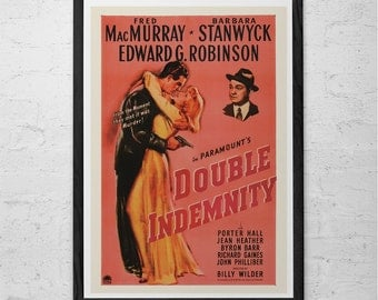 DOUBLE INDEMNITY Movie Poster -  Barbara Stanwyck Movie Poster -  Retro Film Noir Poster Classic Movie Poster Classic Film Noir Movie Poster