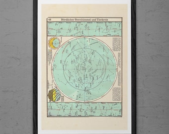 ANTIQUE STAR MAP - Vintage Astrology Print - Professional Reproduction - Antique Zodiac Map Antique Celestial Map Zodiac Art Horoscope Print