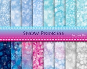 "Snow Princess Digital Paper pack: ""Bokeh Digital Paper"" winter backgrounds in aqua, blue, magenta, with heart bokeh, snowflakes, sparkles"