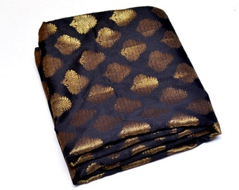 Luxurious Hand Woven Black Beauty Banarasi Brocade with Golden Jacquard Motifs Silk Fabric by Yardage