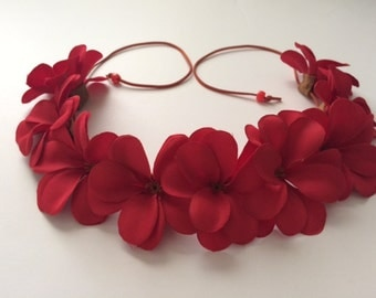 Hawaiian Plumeria Red Flower Crown Floral Halo EID Beach Boho Bohemian