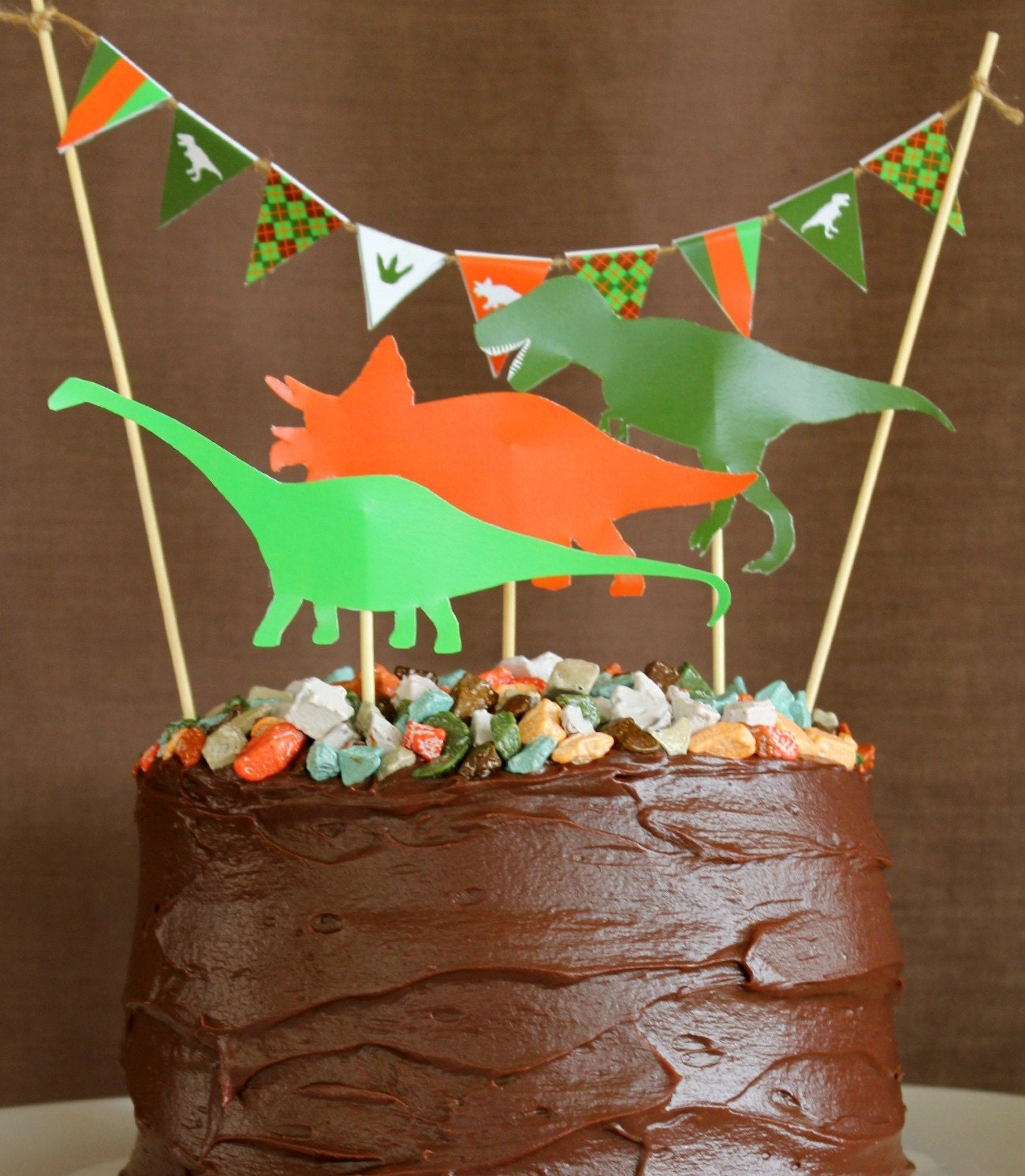 Dinosaur Cake Accessories : DINOSAUR CAKE DECORATION and Mini Cake Bunting Printable