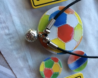 Soccer Necklace - black leather with silver charm and beads