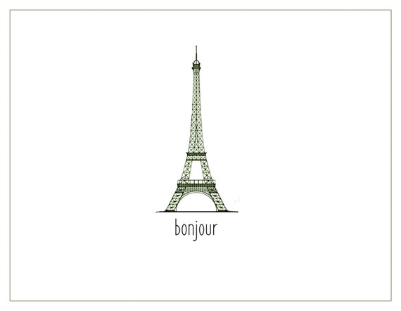 Notecard. French Eiffel tower.  Bonjour.  Pack of 10, 20, or 30