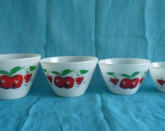 FIRE KING Rare 1950's Apples and Cherries Design Set of 4 Splash Proof Nesting Mixing Bowls