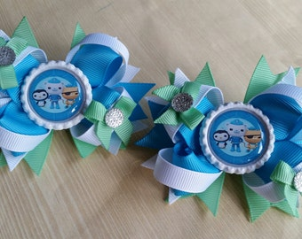 Octonauts girls hair bows. Set of 2. Perfect for piggy tails :)