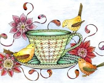 Three little birds and teacup art print. Cute Kitchen wall art