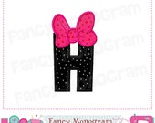 Bow Monogram H applique,Birthday Letter H applique,Font H applique,H,Girl applique,H,Bow applique,Machine Embroidery Design.