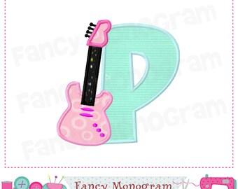 Guitar Monogram P applique, Guitar Letter P applique,Font P,School applique,Birthday,Guitar design,Band applique,Machine Embroidery 01