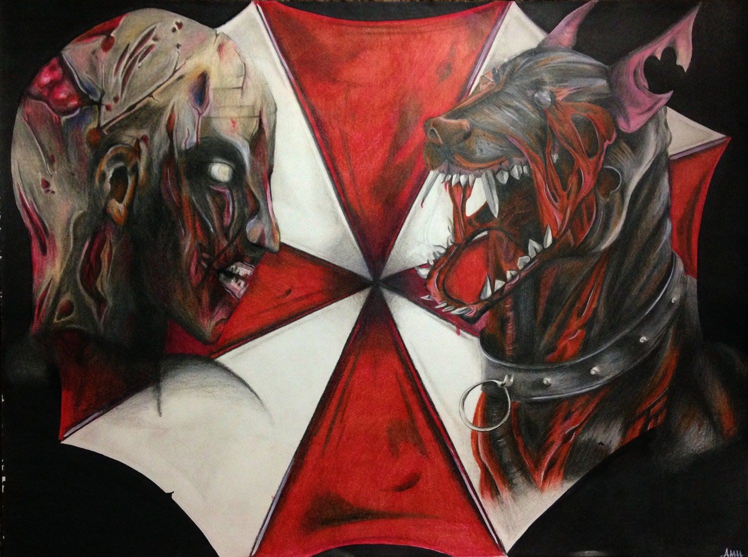 Resident Evil: Zombie and Dog 18x24 by OutfoxedIllustration