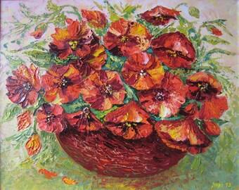 """Painting """"Poppies in a basket"""".  Картина """"Маки в корзинке"""""""