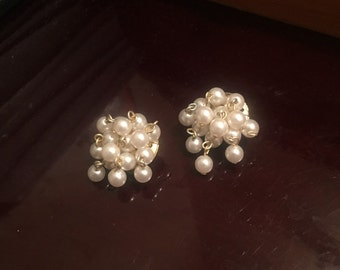Pearl cluster clip on earrings with gold backing