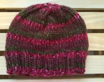 Pink & Green Knit Beanie