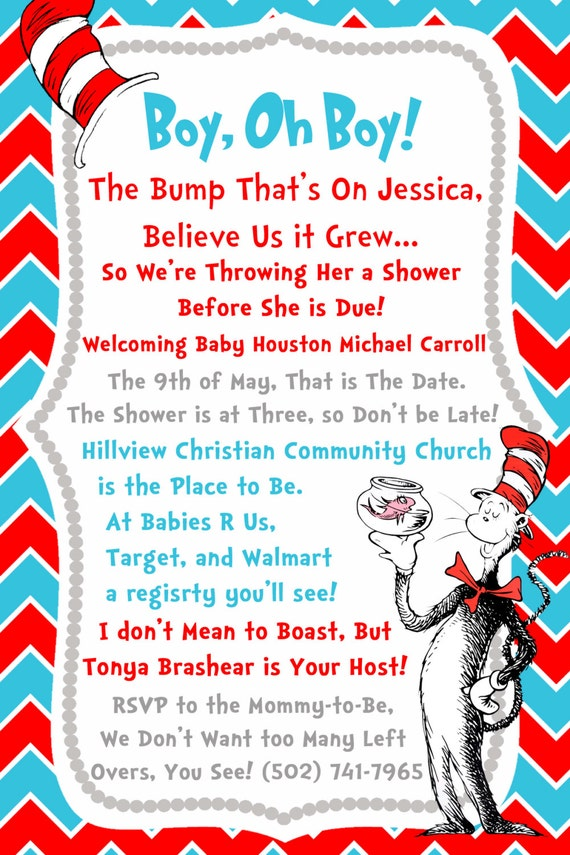 Printable Dr. Seuss Baby Shower Invitations For One Baby, Twins Or ...
