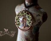 Apple Tree, Tree of life, Copper Wire wrapped pendant, Peridot gemstones, garnet gemstones, raw birthstones, apple silver charm, handmade