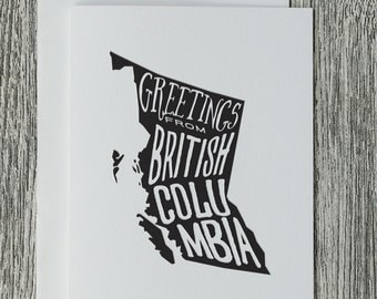 Greetings From British Columbia - Letterpress Blank Greeting Card on 100% Cotton Paper