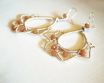 Silver Star earrings with 925 Silver Pink stones and wire